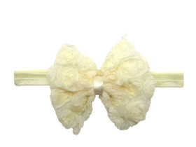 Ivory Rosette Bow On Fold Over Elastic Headband