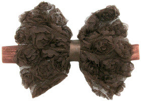 Brown Rosette Bow On Fold Over Elastic Headband