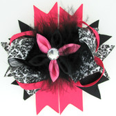 Hot Pink, Black & Damask Bow With Marabou Puff Center