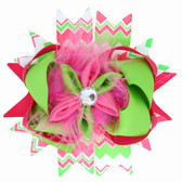 Hot Pink & Lime Green Chevron Bow With Marabou Puff Center