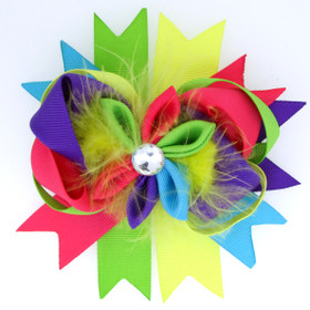 Bright Colors Bow With Marabou Puff Center