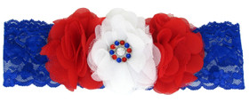 Patriotic Tulle Heart Flowers On Wide Lace Headband