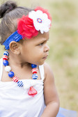 Tulle Heart Flowers on Wide Lace Headband Red, White and Blue