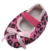 Hot Pink Leopard Crib Shoes with Bow