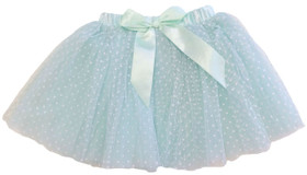 Aqua Tutu with White Polka Dots