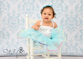 Rainbow Lined Dance Tutu Frozen Aqua