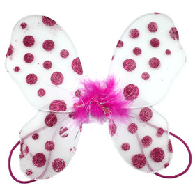 White with Hot Pink Polka Dots Baby Butterfly Wings