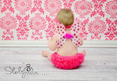 Baby Butterfly Wings White with Hot Pink Polka Dots
