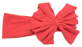 Red Jersey Knit Bow on Cotton Headband for Girls