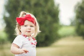 Jersey Knit Bow on Cotton Headband for Girls Red