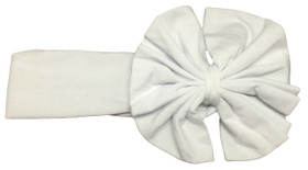 Cute White Jersey Knit Bow on Cotton Headband for Girls - Baby Headbands