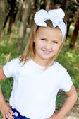 Cute White Jersey Knit Bow on Cotton Headbands for Girl - Baby Headband