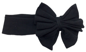 Black Jersey Knit Bow on Cotton Headband for Girls