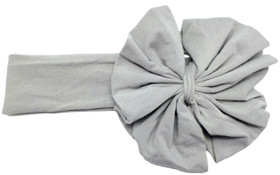 Gray Jersey Knit Bow on Cotton Headband for Infants