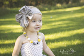 Gray Jersey Knit Bow on Cotton Headband for Girls