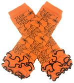 Orange and Black Spiderweb Halloween Leg Warmers