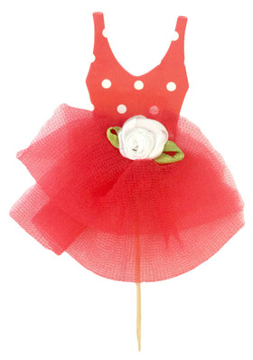 12 Red Tutu Cupcake Toppers for Dance Parties