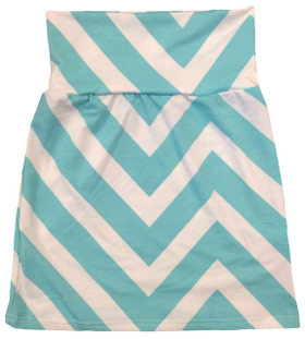 Aqua Chevron Maxi Skirt