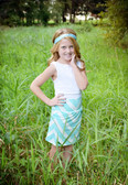 Aqua Chevron Maxi Skirt for Toddlers