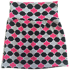 Black, Hot Pink & Gray Quatrefoil Maxi Skirt