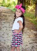 Black, Hot Pink & Gray Quatrefoil Maxi Skirt for Girls