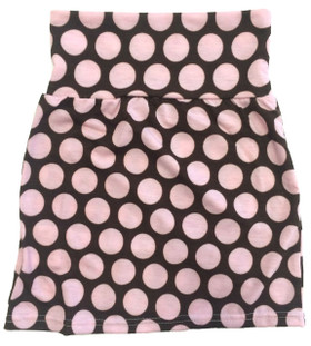Brown With Pink Dots Maxi Skirt