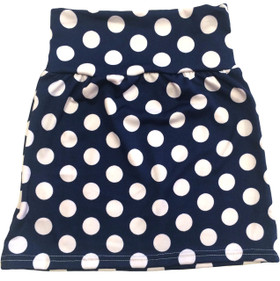 Navy Blue With White Dots Maxi Skirt