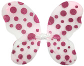 White Butterfly Wings With Hot Pink Polka Dots