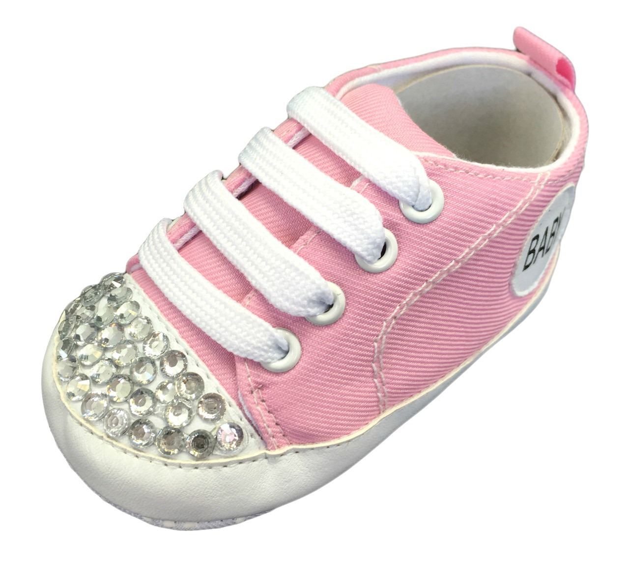 Light Pink Baby Sneaker Crib Shoes With Rhinestones a8bb243de9e8