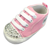 Light Pink Baby Sneaker Crib Shoes With Rhinestones
