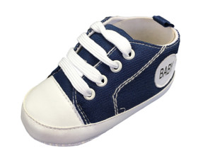 Navy Blue Baby Sneaker Crib Shoes For Infant Boys