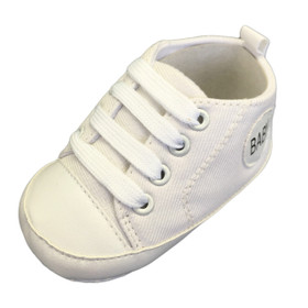White Baby Sneaker Crib Shoes For Infants, Newborns and Toddlers