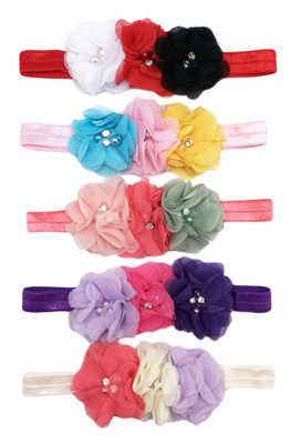Assorted Chiffon Flowers on Fold Over Headbands For Girls