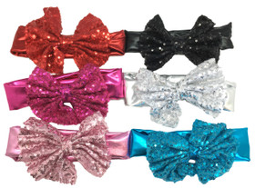 Assorted Sequin Bows On Satin Headbands For Dance Recitals