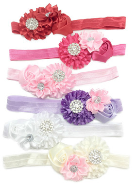 Assorted Satin Flower Fold Over Elastic Headbands For Dance