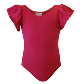 Wholesale Girls Hot Pink Leotards with Flutter Sleeves For Dance, Ballet, Gymnastics