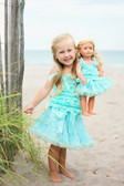 Chevron Print Pettiskirt Aqua (Doll Skirt Sold Separately)