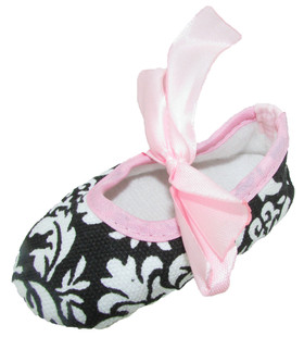 Damask Light Pink Ribbon Tie Crib Shoes