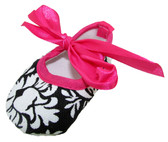 Damask Hot Pink Ribbon Tie Crib Shoes