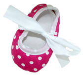 Hot Pink White Dot Ribbon Tie Crib Shoes