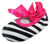 Zebra Hot Pink Ribbon Tie Crib Shoes