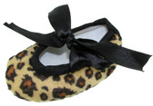 Leopard Ribbon Tie Crib Shoes