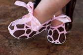 Pink Giraffe Ribbon Tie Crib Shoes