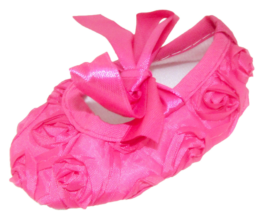 5d2cf98de2882 Hot Pink Rosette Crib Shoes