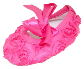 Hot Pink Rosette Crib Shoes