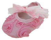 Light Pink Rosette Crib Shoes
