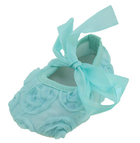 Aqua Rosette Crib Shoes