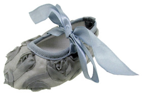 Gray Rosette Crib Shoes