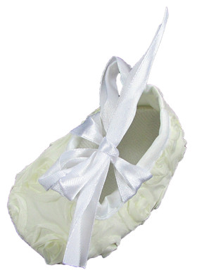 Ivory Rosette Crib Shoes