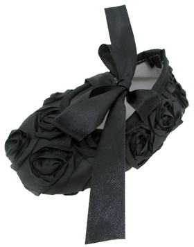 Black Rosette Crib Shoes